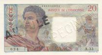 Tahiti 20 Francs Jeune Berger - ND (1954) - Spécimen sur coursable Série A.33
