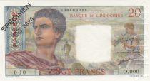 Tahiti 20 Francs Jeune Berger - ND (1963) - Spécimen n°0020