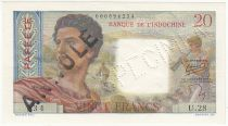 Tahiti 20 Francs ND (1954) - Specimen on circulated note Serial U.28 - AU - P.21