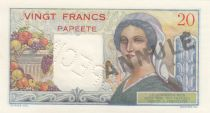 Tahiti 20 Francs Young farmer - ND (1954) - Specimen on circulated note Serial A.33