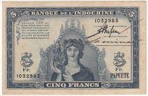 Tahiti 5 Francs, Minerve - 1944 - 1032983 - SUP +