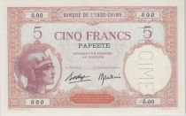 Tahiti 5 Francs femme casquée ND1927, spécimen - PCGS MS 66