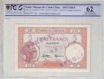 Tahiti 5 Francs femme casquée ND1927, spécimen, Annulé - PCGS MS 66 - Série J.77