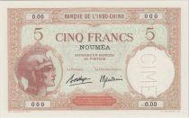 Tahiti 5 Francs femmes casquée ND1937, Spécimen - PCGS MS 67 OPQ