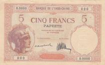 Tahiti 5 Francs Walhain - 1927, spécimen - Signature Montplanet, Thion de la Chaume - Rare