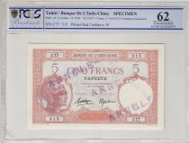 Tahiti 5 Francs Woman with helmet ND1927, specimen, cancelled - PCGS MS 66 - Serial J.77
