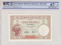 Tahiti 5 Francs Woman with helmet ND1937, Specimen - PCGS MS 67 OPQ