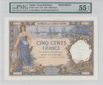 Tahiti 500 Francs Femme et bateaux 1938 - Spécimen PMG 55 EPQ