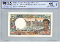 Tahiti 500 Francs Fisherman, boats - PCGS UNC 66 OPQ