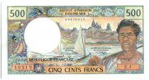 Tahiti 500 Francs Pêcheur et pirogues - 1969