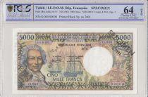 Tahiti 5000 Francs Bougainville - Boat - PCGS 64 OPQ