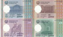 Tajikistan Set of 5 banknotes  -  1, 5, 20 and 50 Dirams  - 1999