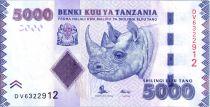 Tanzania 5000 Schillingi Rhinoceros - Mining - 2015
