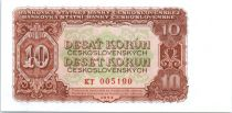 Tchécoslovaquie 10 Korun Brun sur vert clair et orange - 1953
