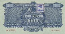 Tchécoslovaquie 100 Korun 1944 - Bleu - Série CK - Spécimen, avec timbre