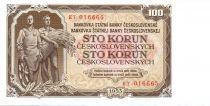 Tchécoslovaquie 100 Korun Travailleur et agriculteur - Scène de Prague - 1953