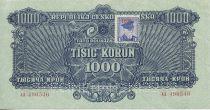 Tchécoslovaquie 1000 Korun Bleu avec Timbre