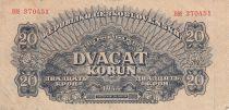 Tchécoslovaquie 20 Korun 1944 - Bleu - Série BM
