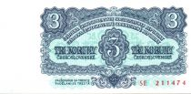 Tchécoslovaquie 3 korun - Trois au milieu - Armoires socialistes - 1961