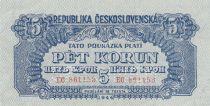 Tchécoslovaquie 5 Korun 1944 - Bleu - Série EC - Spécimen - 2ème ex