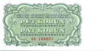 Tchécoslovaquie 5 Korun Vert - 1953 - Série KB