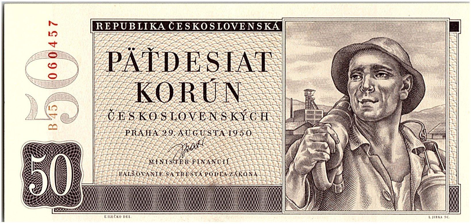 Tchécoslovaquie 50 Korun - Mineur  - 1950