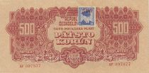 Tchécoslovaquie 500 Korun Rouge avec Timbre