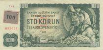 Tchèque République 100 Korun ND1993 - Paysans, Prague - Timbre sur p91c de Tchécoslovaquie