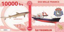 Terres Australes Françaises 10000 Francs Ile Tromelin - Requin, Navire - 2018 - Fantaisie