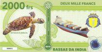 Terres Australes Françaises 2000 Francs Bassas da India - Tortue, cargo - 2018 - Fantaisie