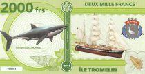 Terres Australes Françaises 2000 Francs Ile Tromelin - Requin, Voilier - 2018 - Fantaisie