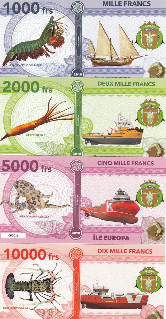 Terres Australes Françaises Série 4 billets Ile Europa - Crustacés, Navires - 2018 - Fantaisie