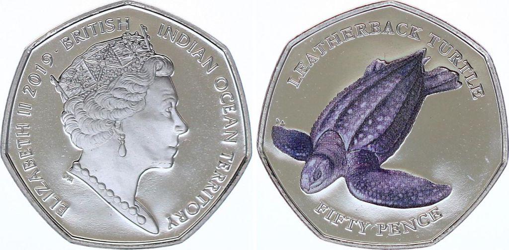 Territoire Britannique d\'Outre-mer 50 Pence Tortue  Leatherback  - 2019 Colorisée