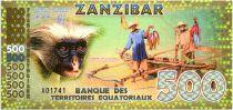 Territoires Equatoriaux 500 Francs, Zanzibar - Singe, pêhceurs 2015