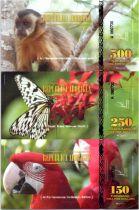 Territoires Equatoriaux 900 Pira Dollar, Serie de 3 billets : Singe, papillon, perroquet - 2014