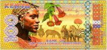 Territori Equatoriali 100 Francs, Kenya - Zebras, birds, dancers 2015
