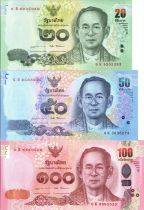 Thaïlande Série 3 billets  - 20, 50, 100 Bath - Rama IX 2017