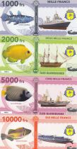 Tierras Australes francesas Set of 4 banknotes Glorieuses islands, fish, boats - 2018 - Fantaisy