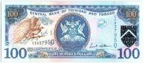 Trinidad and Tobago 100 Dollars Bird - Twin towered modern bank building, iol rig - 2006