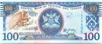 Trinidad e Tobago 100 Dollars Bird - Twin towered modern bank building, iol rig