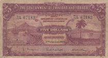 Trinidad e Tobago 5 Dollars Sea and boats - 02-11-1939  - Serial 7A
