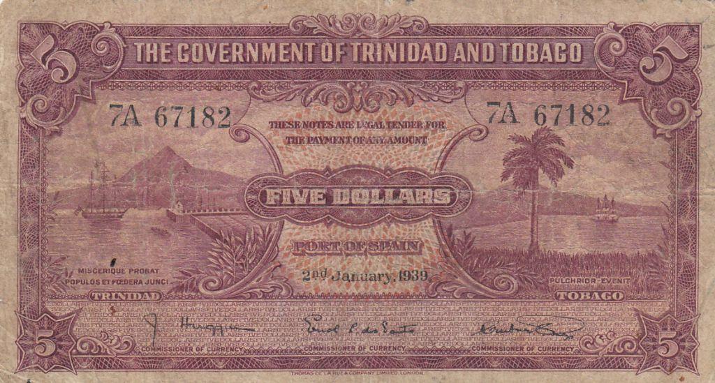 Trinidad et Tobago 5 Dollars Mer et Bateaux - 02-11-1939  - Série 7A