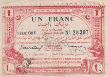Tunisia 1 Franc - Régence de Tunis - 1920 Serial 081