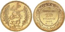 Tunisia 20 Francs Ornate design - 1892 - Gold