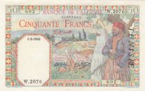 Tunisia 50 francs Veiled woman & man - 1945 - P.12 a - XF to AU - Serial W.2076