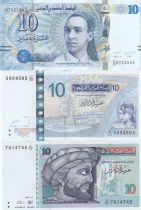 Tunisia Set of 3 banknotes of 10 dinars 1994 to 2013