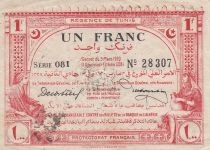 Tunisie 1 Franc - Régence de Tunis - 1920 Série 081