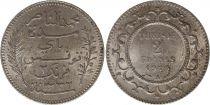 Tunisie 2 francs Bey Mohamed En-Naceur 1914 (1332)