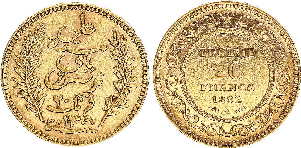 Tunisie 20 Francs Palmes - 1892 - Or