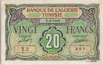 Tunisie 20 Francs Vert et brun - 1948